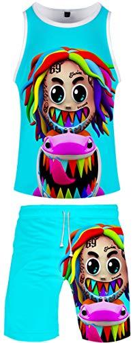 Silver Basic Bambino Tute da Ginnastica Stampa Tekashi69 Collana T-Shirt e Shorts Gooba Squalo Unisex Costume,Blu Sixnine-4,3XL