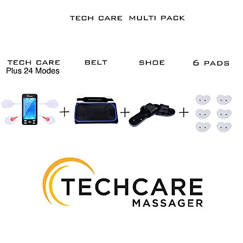 TechCare Plus 24 Modes Tens Unit Lifetime Warranty Rechargeable Massager Complete Set Fat Burner Belt Reflexology Shoes for Pain Therapy Back Neck Pain Sciatica Treatment