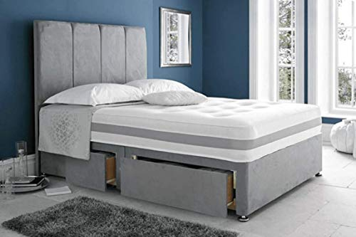 DivanBedsDeals Grey Suede Divan Bed Set with Mattress, Headboard & 2 Storage Drawers   3FT Single, 4FT Small Double, 4FT6 Double, 5FT King Size and 6FT Super King Size  (6FT Super King Size)