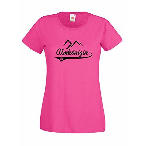 Damen T-Shirt Almkönigin Apres Ski Skiurlaub Snowboard Fun ALM Berge, pink, S