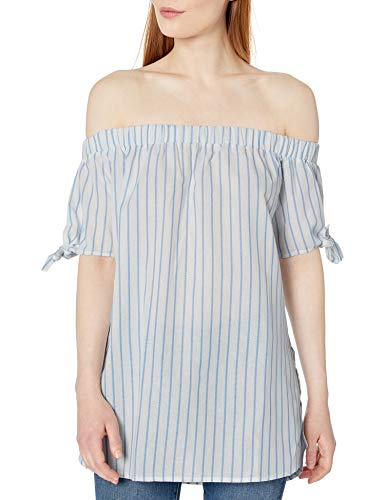 Allison Brittney Women's Off Shoulder Sleeve with Ties Top, Blue, S