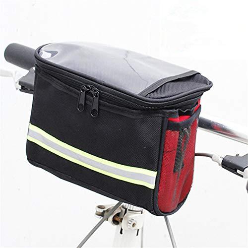 ihreesy Fahrrad Lenkertasche,3.5L Wasserdichte Multifunktional Fahrrad Fronttaschen Fahrradtasche Fahrradrahmentasche mit Touchscreen Fahrrad Lenkertasche mit Reflexstreifen,Rot