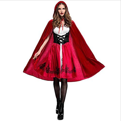 CGBF - Disfraz de caperucita roja para adultos, para Halloween, cosplay, fiesta, discoteca, reina, vestido de mujer y capa con capucha, rojo, XXL