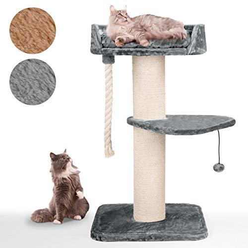 Happypet massiver Premium Kratzbaum, COMPACT Tower I, für große Katzen (Maine Coon), 8mm Sisal, 17 cm Säulen, 120 cm Hoch GRAU