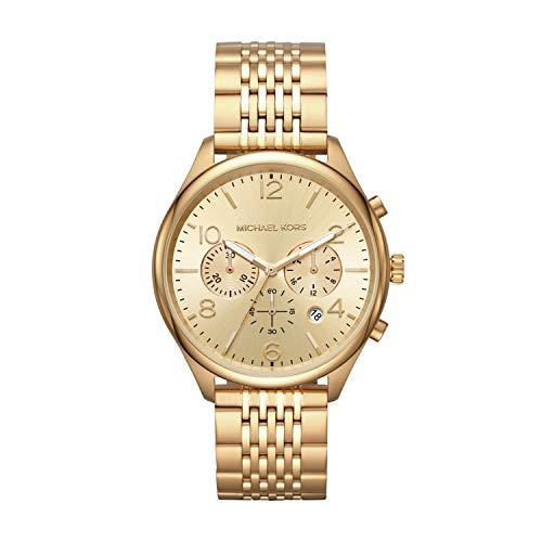 Michael Kors Men's Merrick Quartz Watch with Stainless-Steel-Plated Strap, Gold, 20 (Model: MK8638)