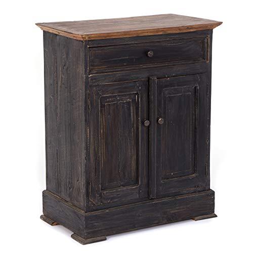 GANGKAST Finca | massief hout, 78x63 cm (HxB), mahoniehouten | zijkast met lade en twee deuren, dressoir in landhuisstijl, houten kastje, boerenkistje | Kleur: 04 zwart-natuur