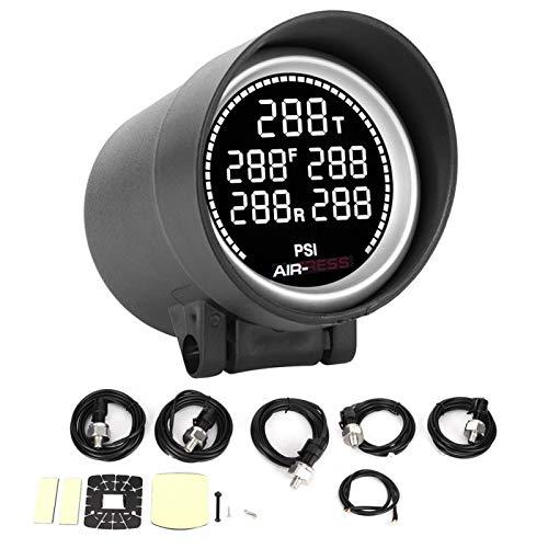 OUKENS Medidor de presión de Aire, medidor de presión de Aire de Coche de 2 Pulgadas, medidor de Tanque de Almacenamiento de Amortiguador neumático, luz de Fondo de 7 Colores