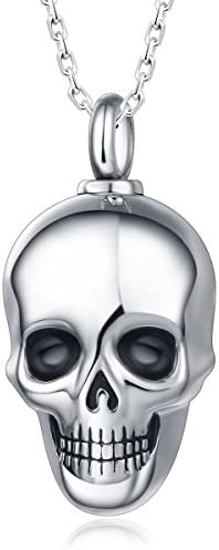 UNY Trendy Stainless Steel Skull Pet Urn Ashes Pendant Memorial Ash Keepsake Cremation Necklace product image