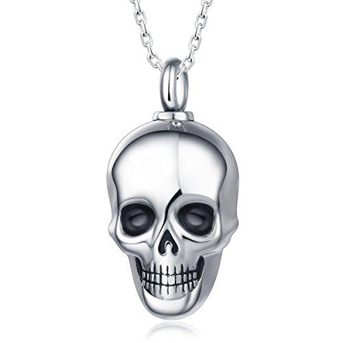 Quiges Memorial Urna de Cremación Colgante de Acero Inoxidable Craneal con Collar de Eslabones de Cadena Ajustable 46 a 52 cm