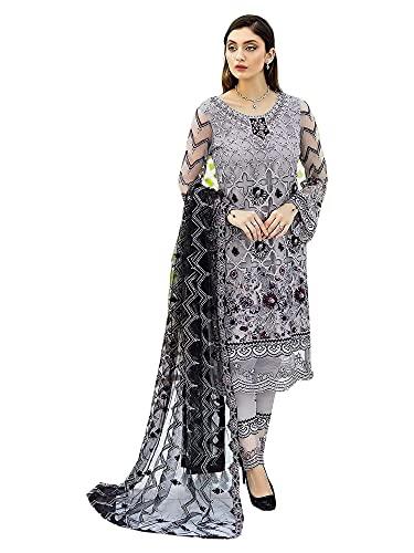 Indian Ready to Wear Formal & party Georgette Grey pantalones pakistaní estilo traje con Black Net Dupatta 6538, gris, XL