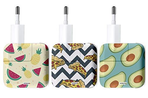 Oedim Pack de 3 Pegatinas Food AddPeel para Cargadores compatibles | Apple | iPhone | iPad...