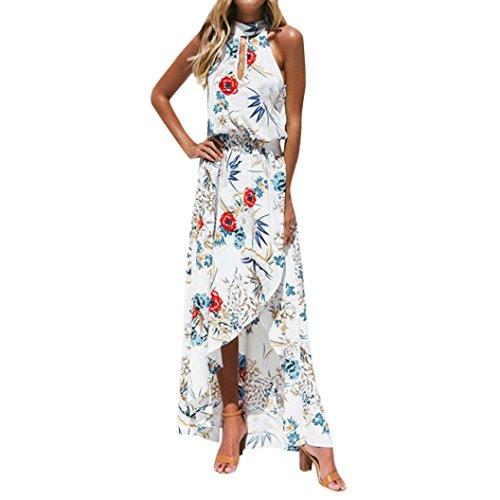 VEMOW Sommer Herbst Elegante Damen Frauen Boho Floral Lange Maxi Kleid Sleeveless Beiläufige Tägliche Abendgesellschaft Sommer Strand Sommerkleid(Weiß, 38 DE/S CN)