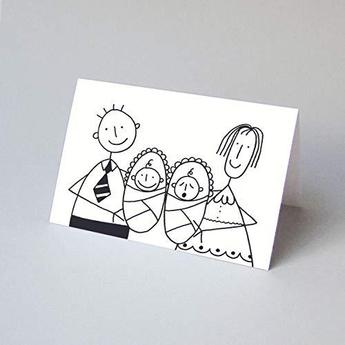 witzige Glückwunschkarte/Geburtsanzeige für Zwillinge, schöne Klappkarte inkl. einem sonnengelben Umschlag, Zeichner: Franz Basdera