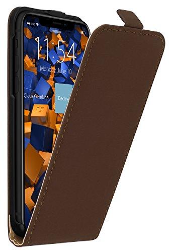 mumbi Echt Leder Flip Case kompatibel mit iPhone SE (2016) / 5 / 5S Hülle Leder Tasche Case Wallet, braun