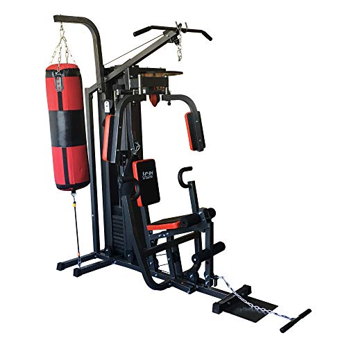 FIT4HOME Multi Gym Home Gym Equipment | Multi-functional Workout Station | Fitness Body Exercise, Padded Seat, 50kg Weight Plates, Punch Bag, Speed Bag, Protecting Net | TF-30031C1 Black