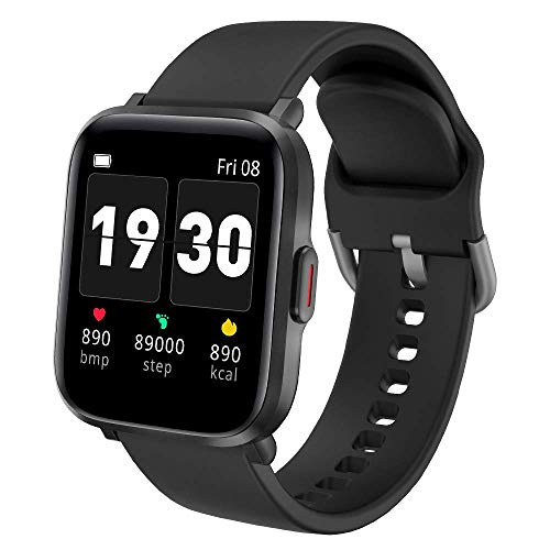 Smart Watch for Men Women, Dr.VIVA CS201C Waterproof Fitness Tracker Watch with Heart Rate Monitor ,Sleep Monitor Pedometer Step/Calories/Distance Counter, Compatible with iPhone Android, Black
