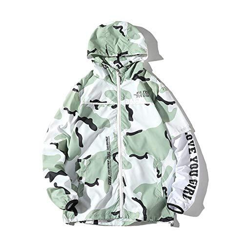 Loeay Hommes À Capuche Vestes Automne Casual Zipper Manteau Vêtements De Mode Rue Camouflage Hommes Marque Écran Solaire Creative en Plein Air Manteaux Pois Vert XXL