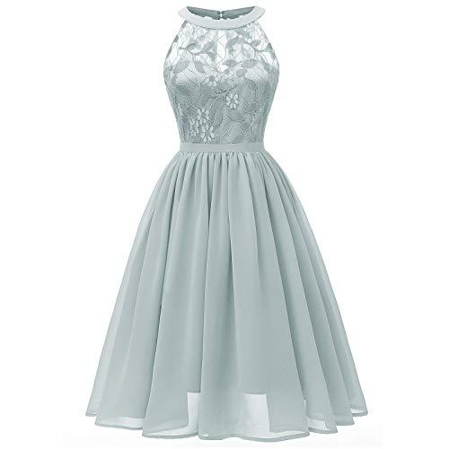 Lalaluka Vestido de verano para mujer, sin mangas, sexy, de gasa, con encaje al cuello, vestido de cóctel, vestido de estilo bohemio, vestido de tiempo libre, túnica, vestido de encaje gris XL