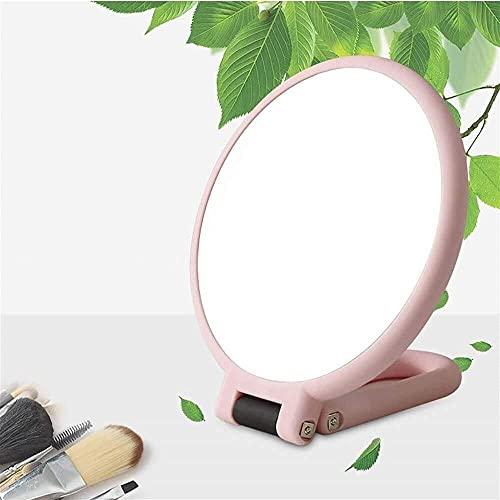 LATOO Lámpara de escritorio portátil portátil con manijas de mano y espejo de aumento plegable de doble cara, pequeño espejo de maquillaje (color: rosa)