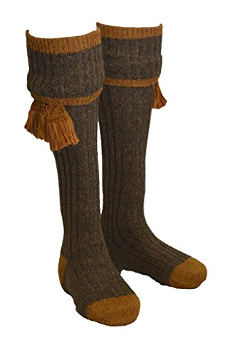 Walker & Hawkes - Chaussettes Kyle pour Homme - Chasse/Campagne - Garters Assortis - Gris/Moutarde - L