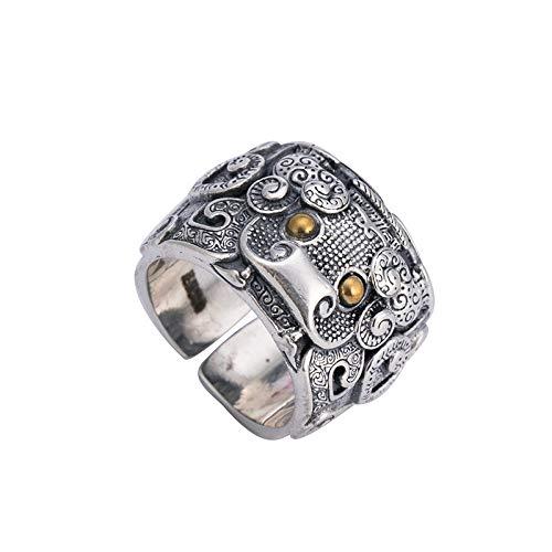 Open vintage ring van 925 zilver voor dames, met brede vingers.