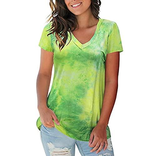 Blusa Tipo Camiseta De Manga Corta con Cuello En V Suelta Y TeñIda Anudada para Mujer