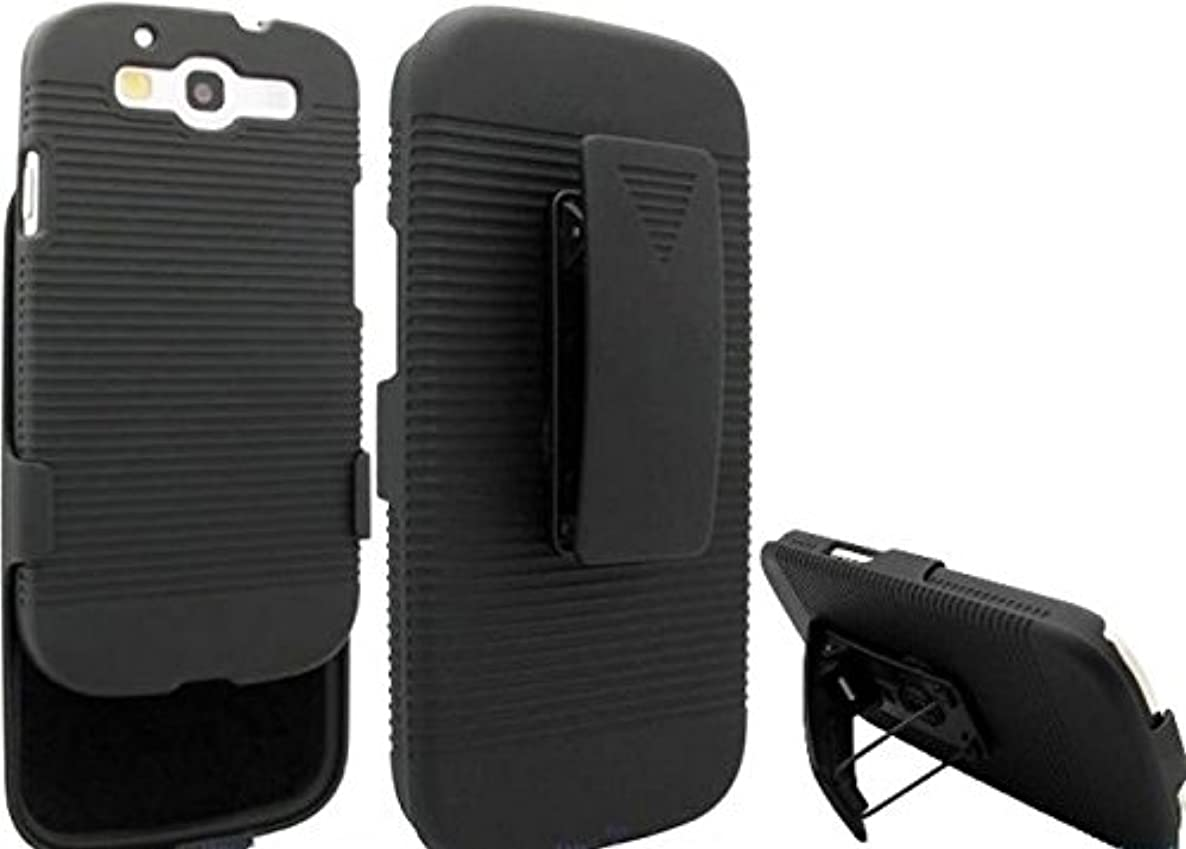 Verizon Samsung Galaxy S3 (SCH-I535) Case, Black Combo Case Hard Shell Shock-proof Carrying Holster Swivel Belt Clip with Kick-stand for Samsung Galaxy S3 (SCH-I535)