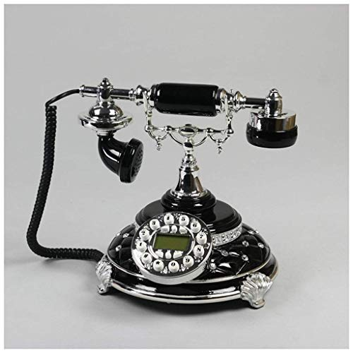 SXRDZ Festnetz Antike Schwarze Farbe Telefon Stick Bohrmaschine Diamant Metall Button geschnitzt Home Fixed Phone Retro Festnetz (Farbe: a) (Color : A)