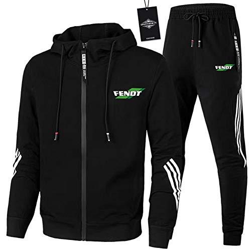 Finchwac Herren Jogging Anzug Trainingsanzug Sportanzug Fe.n-dt.s Streifen Kapuzen Jacke + Hose Z/Schwarz/XL sponyborty