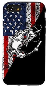 iPhone SE  2020  / 7 / 8 Bass fishing flag American fishing tattoo gift Case