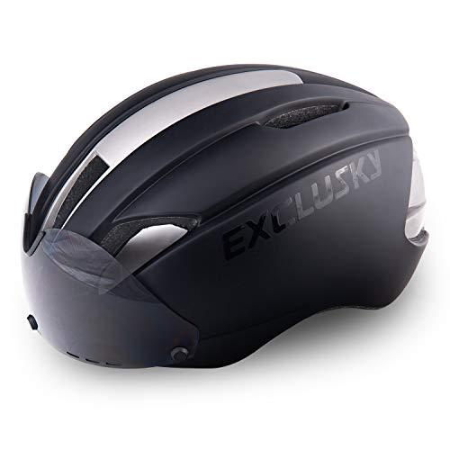 Exclusky In Mould Casco de Ciclismo para Adultos Bici Deportes con Gafas 57-61cm (Negro)