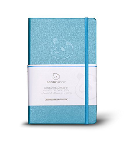 Panda Planner - Daily Planner, Calendar and Gratitude Journal to Increase Productivity, Time Management & Happiness - Hardcover, Undated Day - Quarter Year Planner - Guaranteed (Cyan)