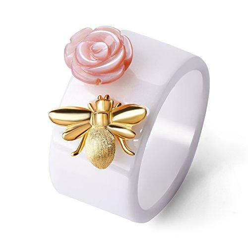 Lotus Fun - Anillo de plata de ley S925 hecho a mano con diseño de abejas y beso de una rosa de cerámica, regalo para mujeres y niñas 7 Blanco