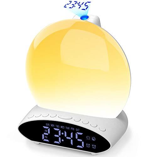 Wake Up Light Lichtwecker, Sonnenaufgang Sonnenuntergang Wecker Tageslichtwecker Projektionswecker mit 2 Alarmen 20 Helligkeit 30 Klängen 7 Farben Schlummerfunktion Radiowecker für Erwachsene & Kinder