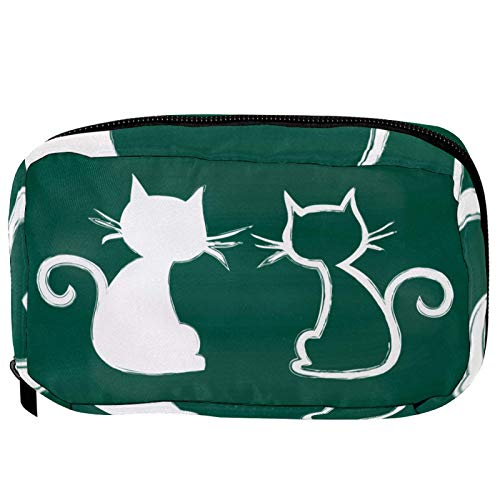 Bolsas de cosméticos para parejas de gatos pizarra práctica bolsa de viaje Oragniser bolsa de maquillaje para mujeres y niñas