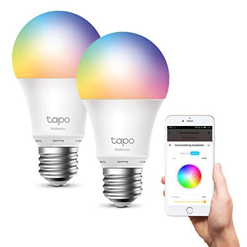 TP-Link Tapo smarthome E27 Glühbirne, alexa glühbirnen, Mehrfarbrige alexa smart lampe, alexa zubehör, kompatibel mit Alexa, Google Assistant, Tapo App, energiesparend, Kein Hub notwendig (2 Pack)