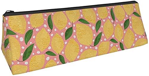 Driehoekige pennenzak met citroenvrucht stip bedrukte etui, cosmetische tas, ritszak voor dagelijkse opslag van kleine voorwerpen op school, kantoor, reizen of make-up.