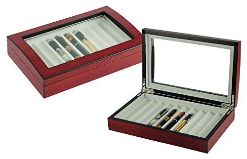 4LESS 10 Pen Fountain Cherry Wood Display Case Holder Storage Organizer Collector Box 1601C
