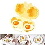 Microwave Egg Poacher Egg Maker Steamed Egg Cooker Mold Fried Eggs Oven Pan Hard Boiled Love Breakfast Cooking Tool Creative Kitchen Gadgets (Flowers + Heart,Yellow) (Egg Pan)