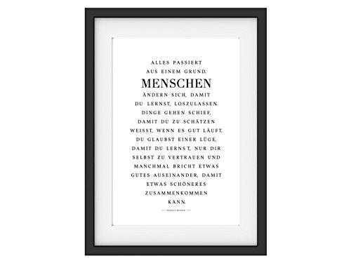 Interluxe Kunstdruck Alles PASSIERT AUS EINEM Grund Marilyn Monroe Zitat DIN A4