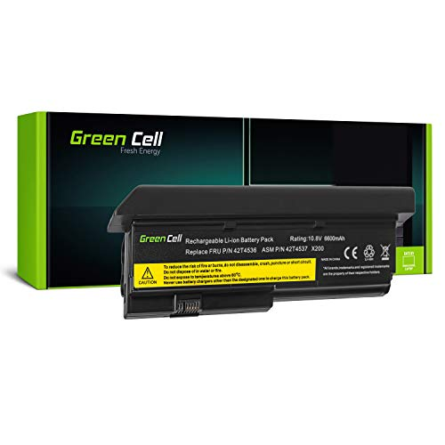 Green Cell Extended Serie 42T4650 Laptop Akku für Lenovo ThinkPad X200 X200s X201 X201i X201s (9 Zellen 6600mAh 10.8V Schwarz)