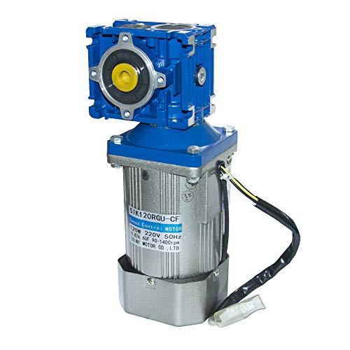 Bemonoc 120W 110V 50/60HZ Low Rpm 18rpm High Torque AC Worm Gear Reducer Motor with Speed Controller CW CCW Reducer Ratio 1:80 Output Shaft Diameter 14mm
