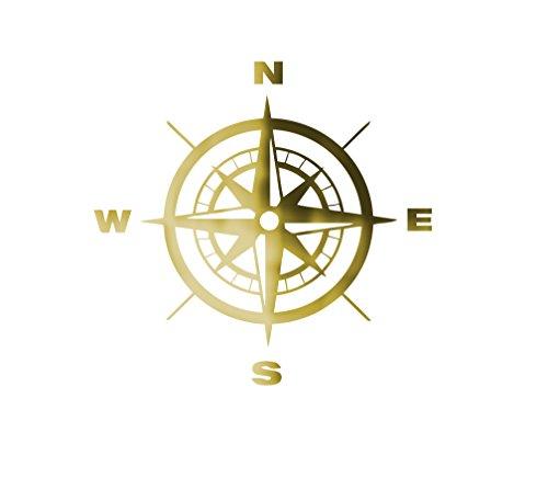 MacDecal.de Kompass Wandtattoo Wandaufkleber Sticker Aufkleber Wand Nordpfeil Kompassrose (L = 60x60cm, Gold)