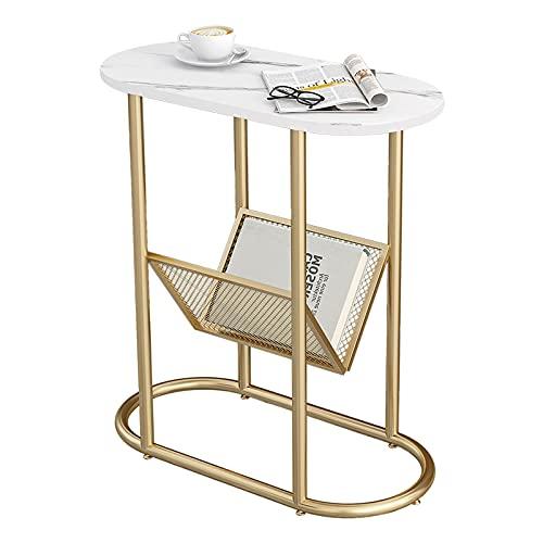Smalle eindtafel, wit nachtkastje bijzettafeltje voor woonkamer, slaapkamer, kleine ruimtes, eenvoudige montage Decro nachtkastje met metalen poten, 58 x 28 x 63 cm