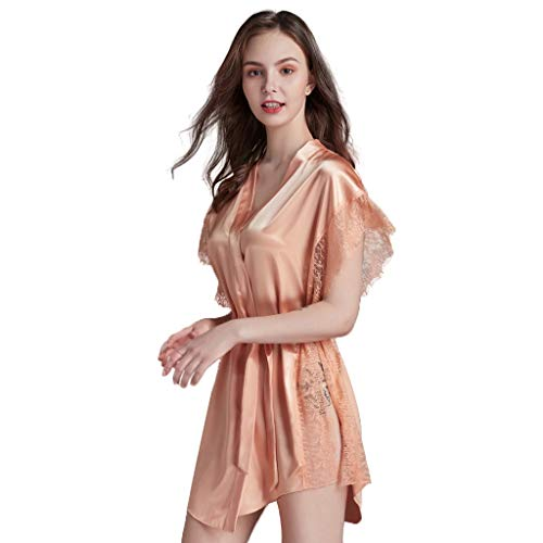 Women's Badjas Kant Kimono Robe Nightgown Womens Pure Color Satin Short Badjas Bridesmaids Lingerie Robes Night Robe For Nachtkleding Sexy Nachtkleding (Color : Orange pink, Size : L)