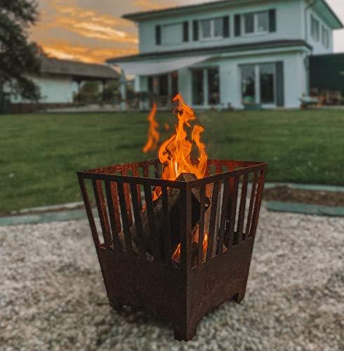 Bonsani, Feuerschale, Feuerkorb, Metall Feuerkorb, Vintage Rostoptik, langlebige Handwerksarbeit, Feuerstelle Garten/ Terasse, Moderne Optik