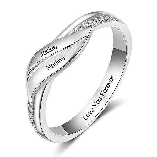 lorajewel Anillos Personalizados para Parejas Anillo de Promesa para Mujeres BFF Anillos Familiares Personalizados para Esposa Anillo de Aniversario con 2 Nombres Grabados