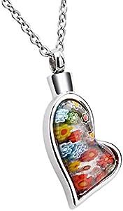 K-Y, collar con colgante de urna en forma de corazón, de cristal de Murano, con flores, de acero inoxidable, para guardar cenizas, recuerdos o restos incinerados