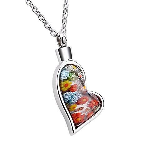 K-Y Herz-Urnenanhänger mit Halskette, farbige Muranoglas-Blumen, Edelstahl, Aschen-Anhänger als Schmuck-Andenken