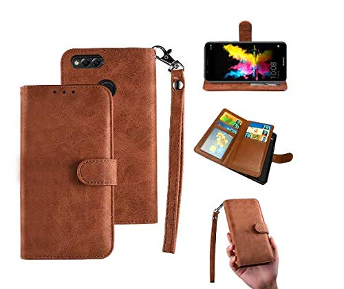 Samsung J7 Duo Case, Galaxy J7 Duo Wallect Case, Flip Leather Case 8 Cards / 1 Photo Slot/Cash Pocket PU Cover with Wrist Strap [Wallet Stand] Phone Case for J7 Duo 2018 (Brown)